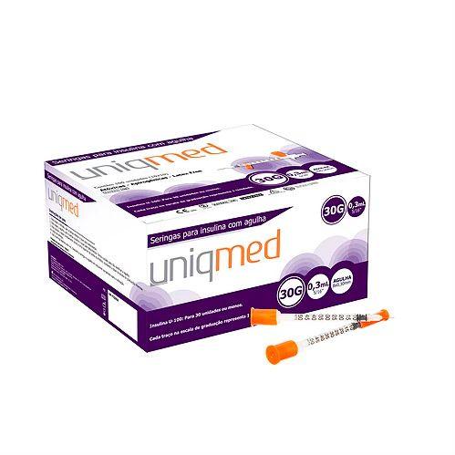 Seringa Insulina 0,3mL 30UI agulha 8X0,30mm 30G Pct C/10 UNIQMED