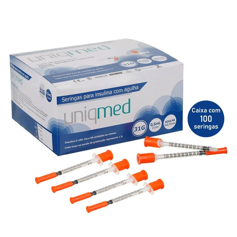 Seringa Insulina 0,5mL 50UI Agulha 6x0,25mm 31G - CX C/100 Un. UNIQMED