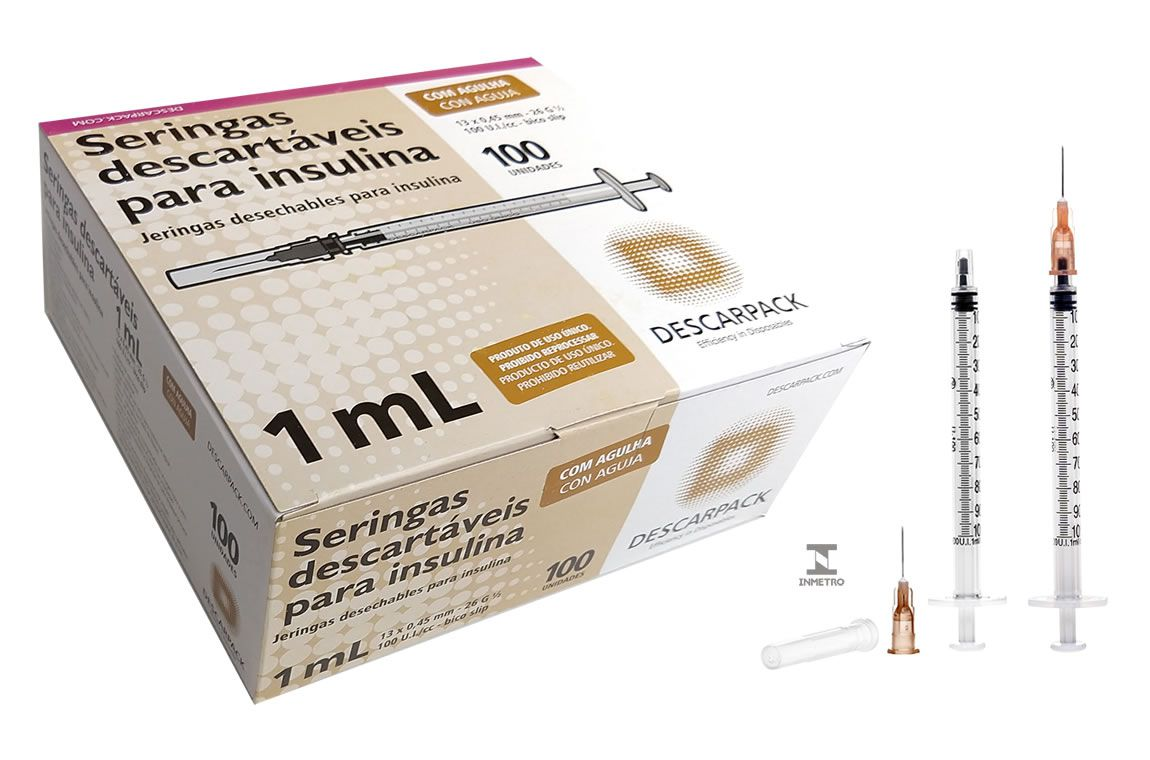 Seringa Insulina 1mL 100UI agulha 13x0,45mm cx c/100un DESCARPACK