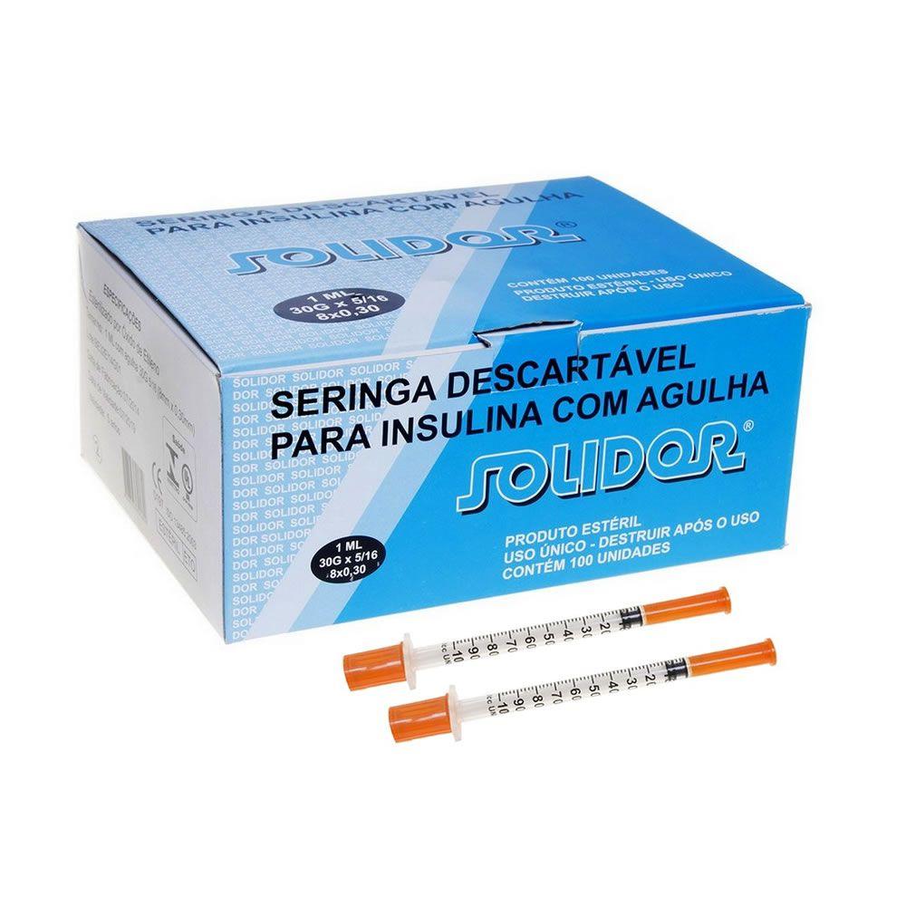 Seringa Insulina 1mL 100UI agulha fixa 8x0,30mm (30G 5/16) CX C/100UN SOLIDOR