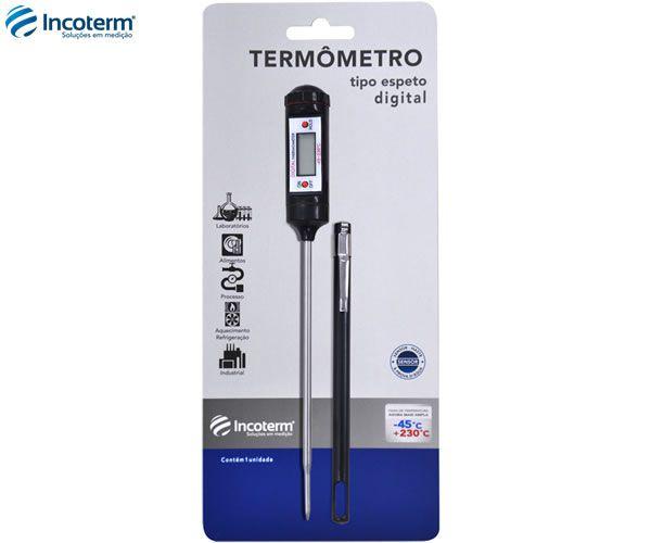 Termômetro Digital Espeto Preto/Prata C/ Capa 6132 Incoterm