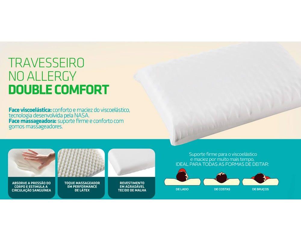 Travesseiro No Allergy Double Comfort WC2052 Fibrasca
