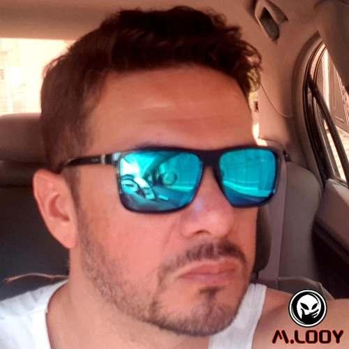 Óculos De Sol Quadrado M.looy Com Lentes Espelhadas Azuis