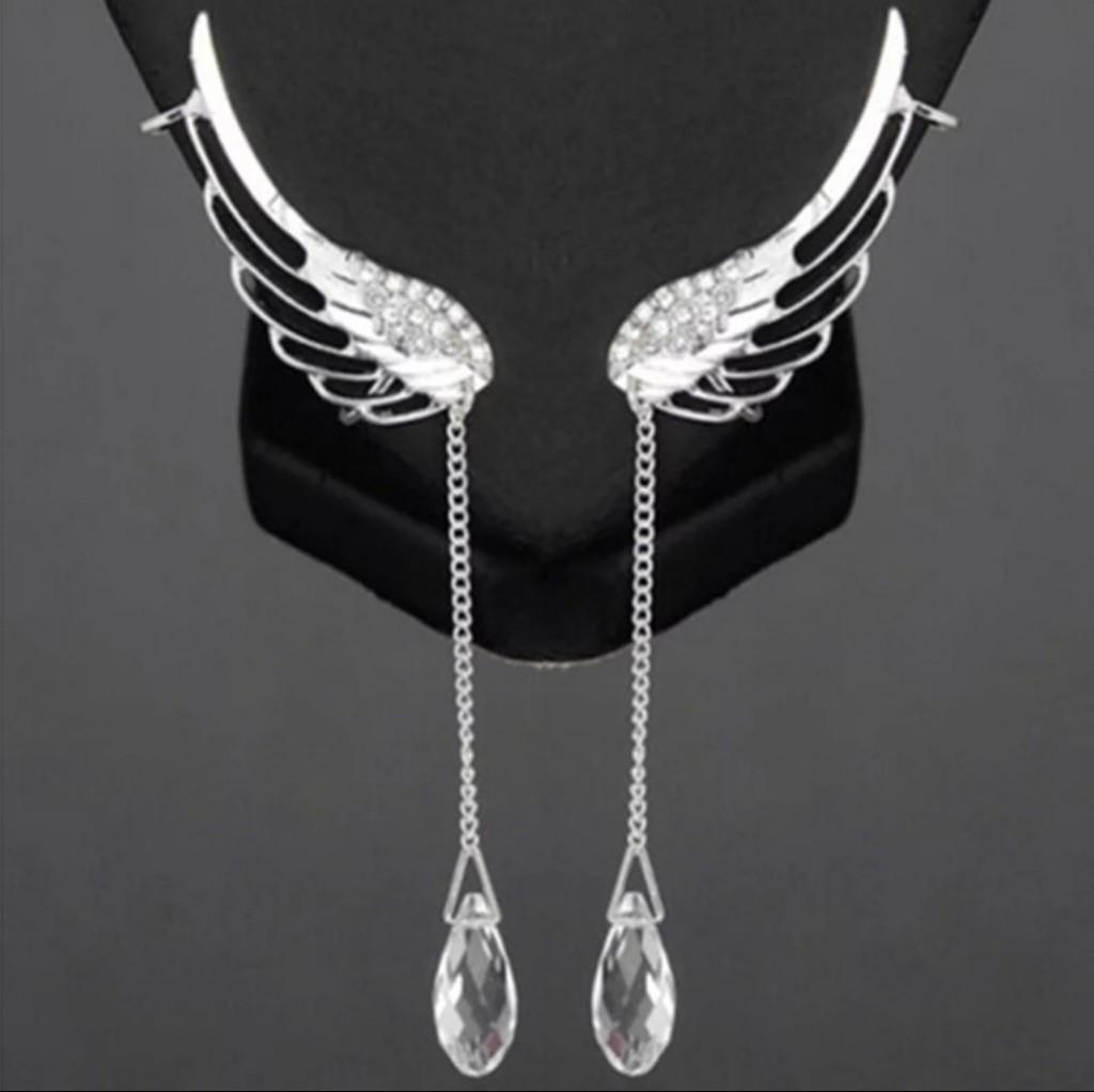 Brinco comprido folheado a Prata Modelo - Asa de anjo com pedras