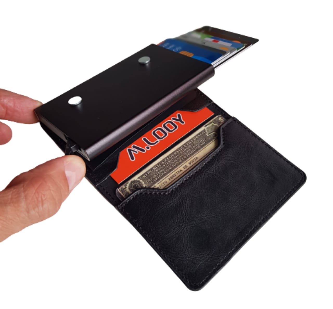 Carteira Minimalista Antifurto Automática Pop Up Com Porta Cédulas e Cartões RFID Blocking COM ÍMÂ