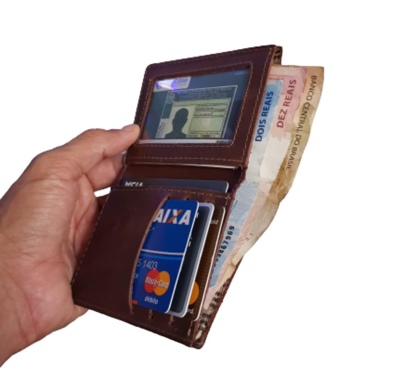Carteira Masculino Slim Porta Cartão de Couro legítimo