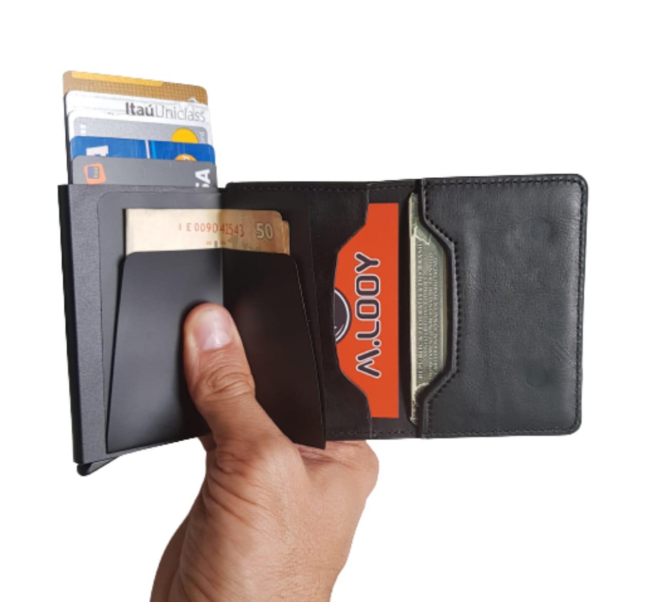 Carteira Minimalista Antifurto Automática Pop Up Com Porta Cédulas e Cartões Anti RFID Blocking