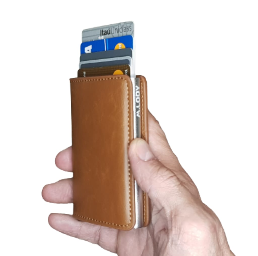 Carteira Minimalista Antifurto Automática Pop Up Com Porta Cédulas e Cartões Anti RFID Blocking Cor: Marrom