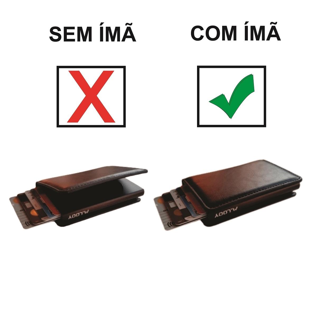 Carteira Minimalista Antifurto Automática Pop Up de Cartões Anti RFID Blocking