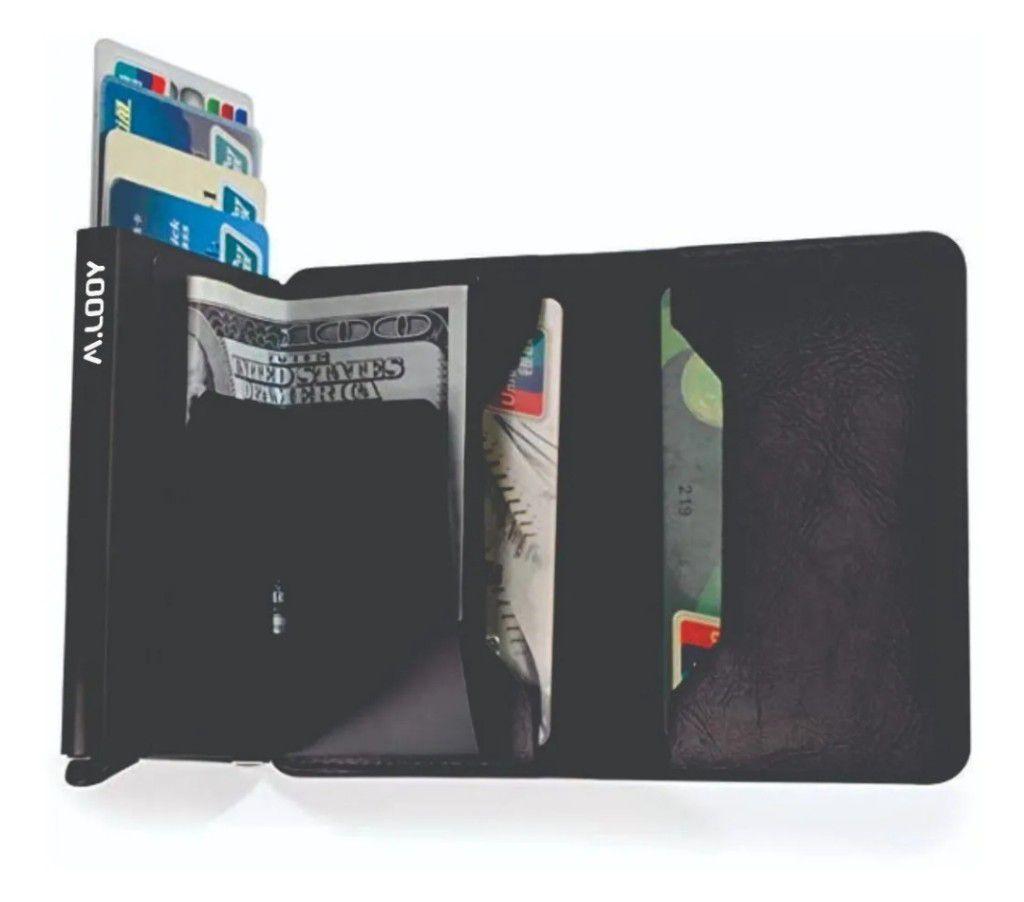 Carteira  Porta carões Antifurto Automática Pop Up Com Porta Cédulas  Anti RFID Blocking