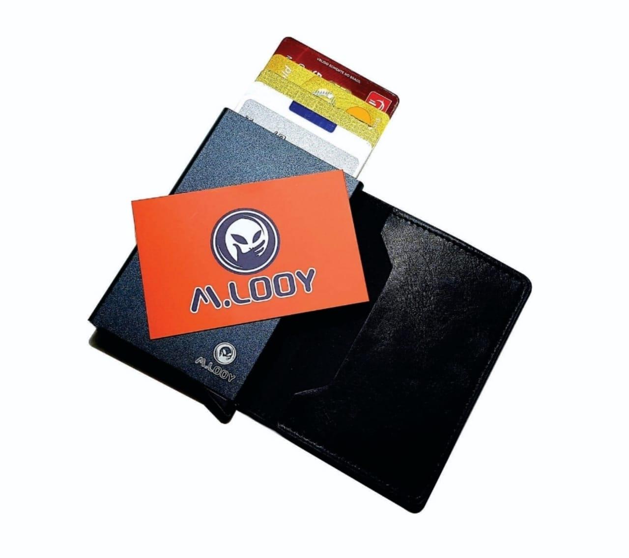Carteira Porta Cartões Pop Up Couro Antifurto Automática Rfid
