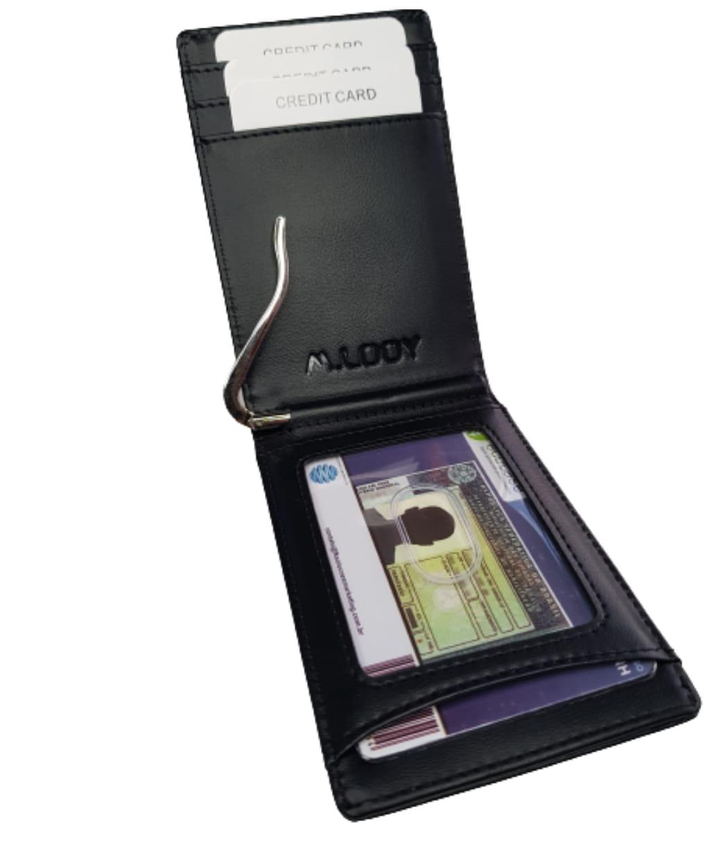 Carteira Slim Antifurto Rfid com Grampo para Dinheiro
