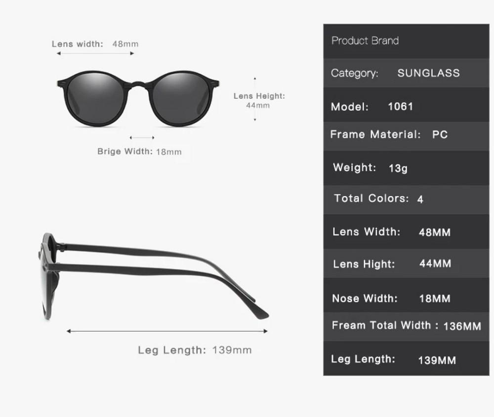 Óculos de sol Modelo redondo Retrô Para Homem e Mulher
