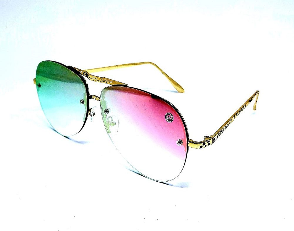 Óculos M.looy Feminino Aviador Espelhado Rosa Armaç Dourada
