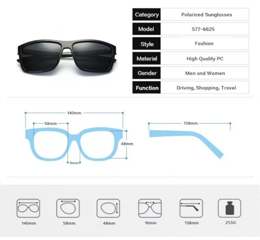 Óculos Verão  M.looy Com Lentes Espelhadas Azuis Quadrado
