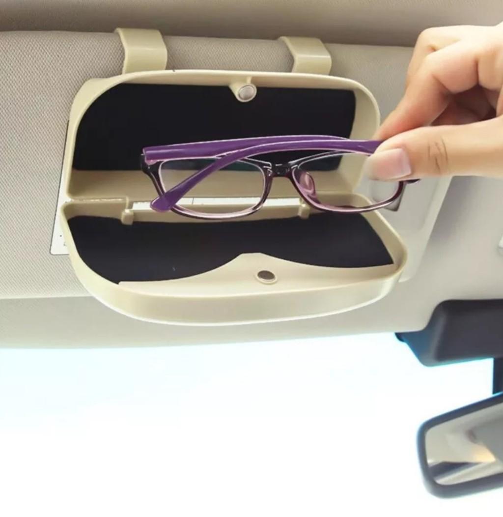 Porta óculos para carro com ímã caixa com acabamento em forro