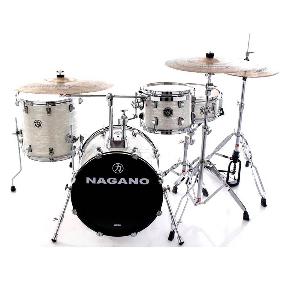 Bateria Acústica Concert Gig 18 Pol Brooklin White Nagano