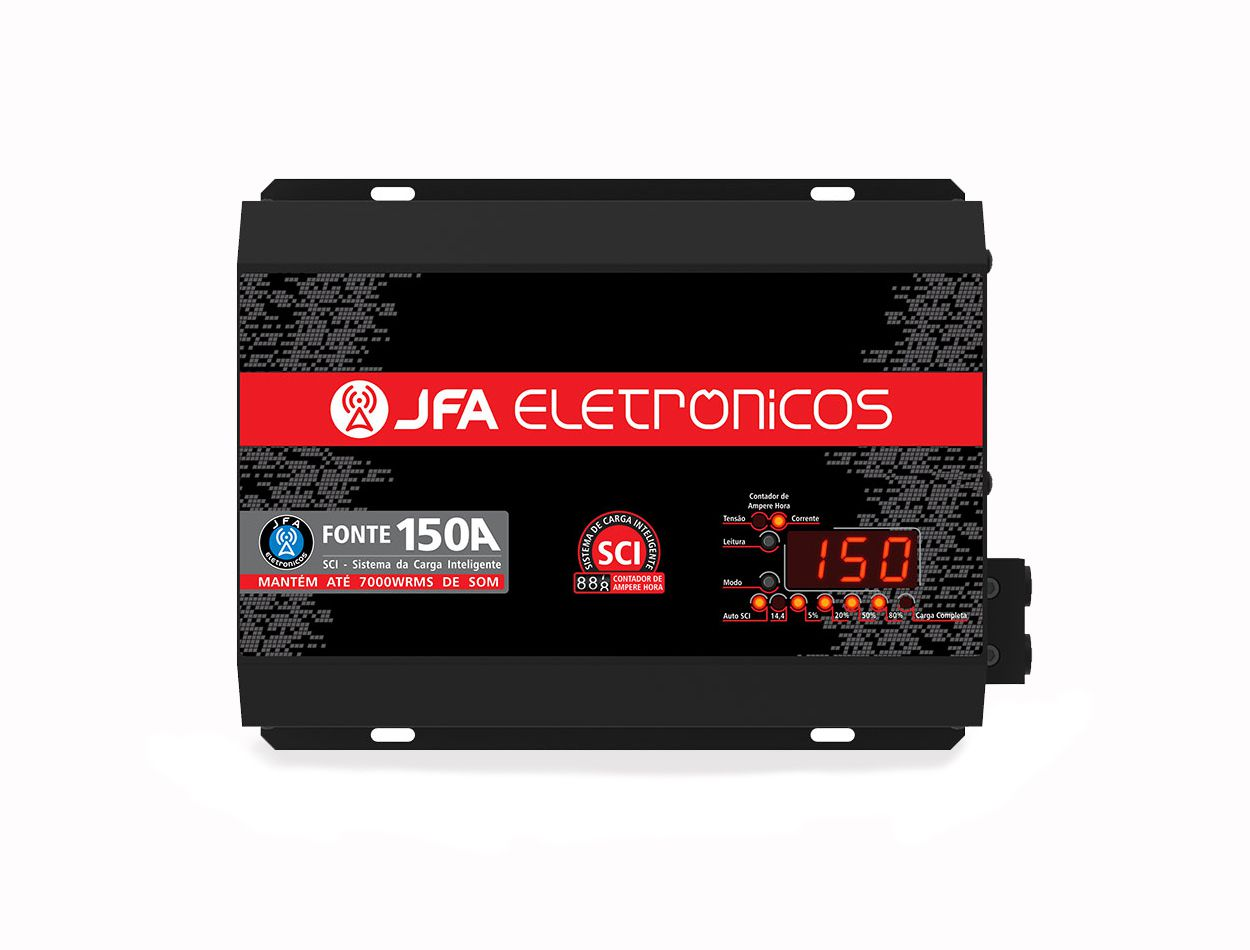 Fonte Automotiva Carregadora Jfa 100a Slim Voltímetro Digital