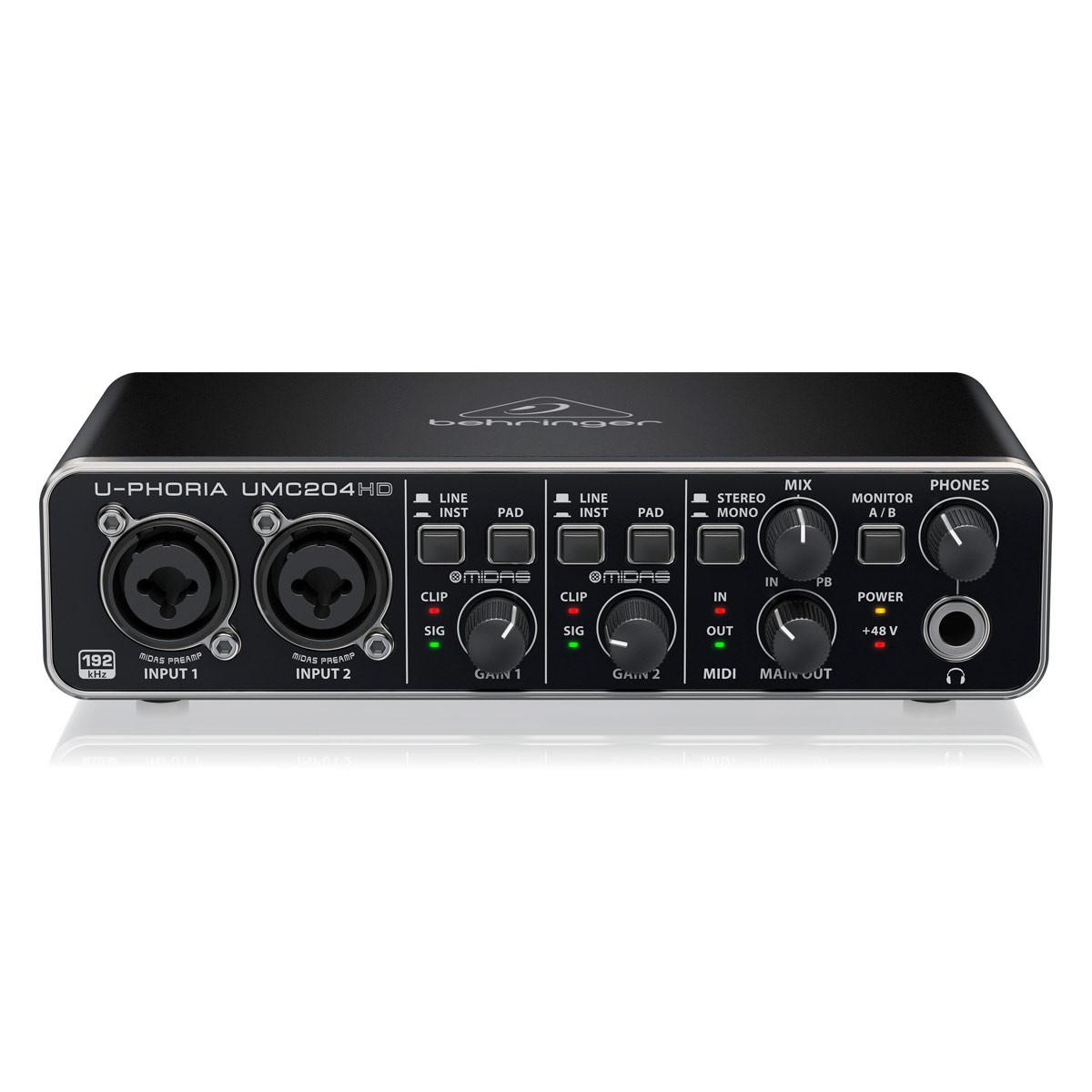 Interface De Áudio Behringer UMC204 HD Profissional 48Khz