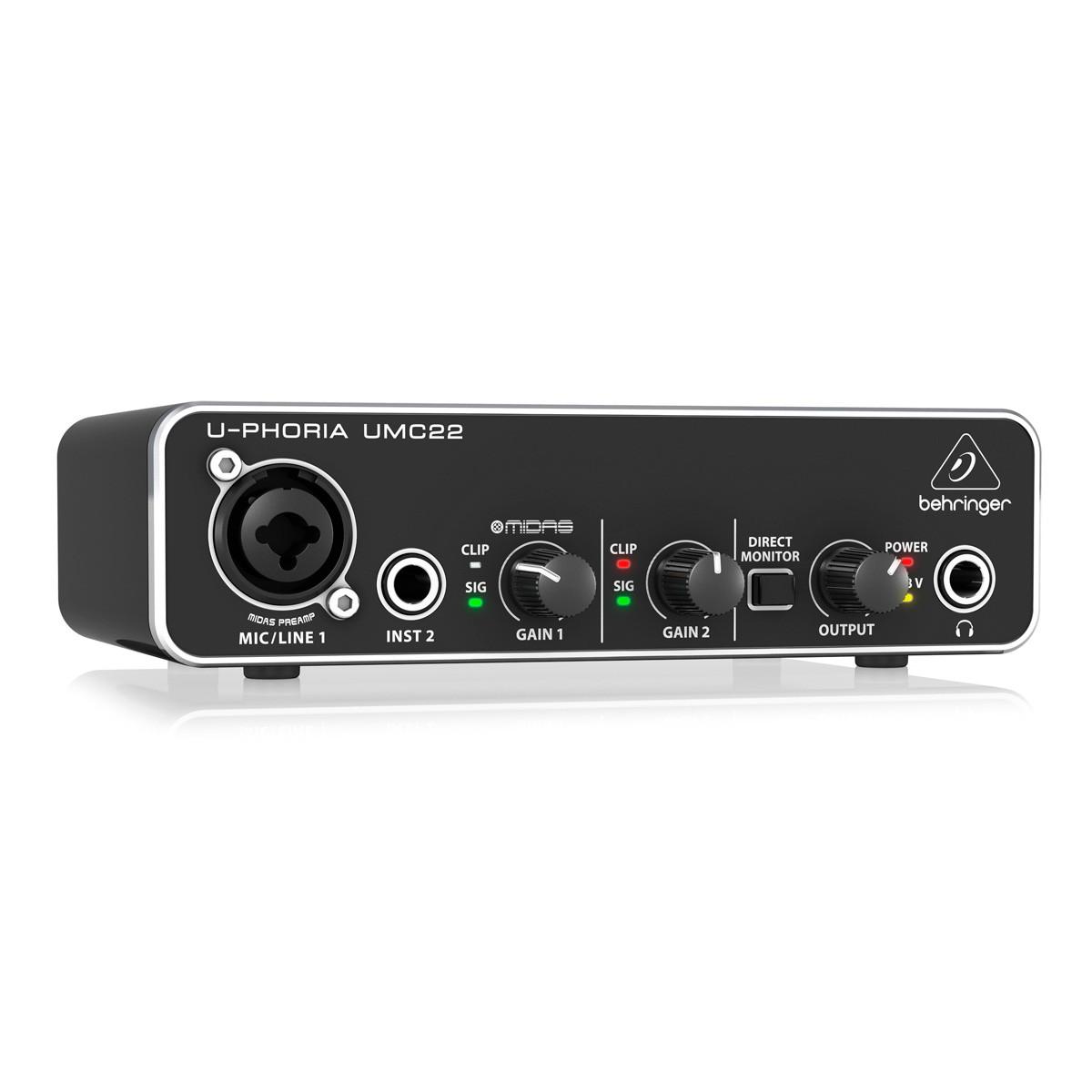 Interface De Áudio Behringer UMC22 Profissional 48Khz
