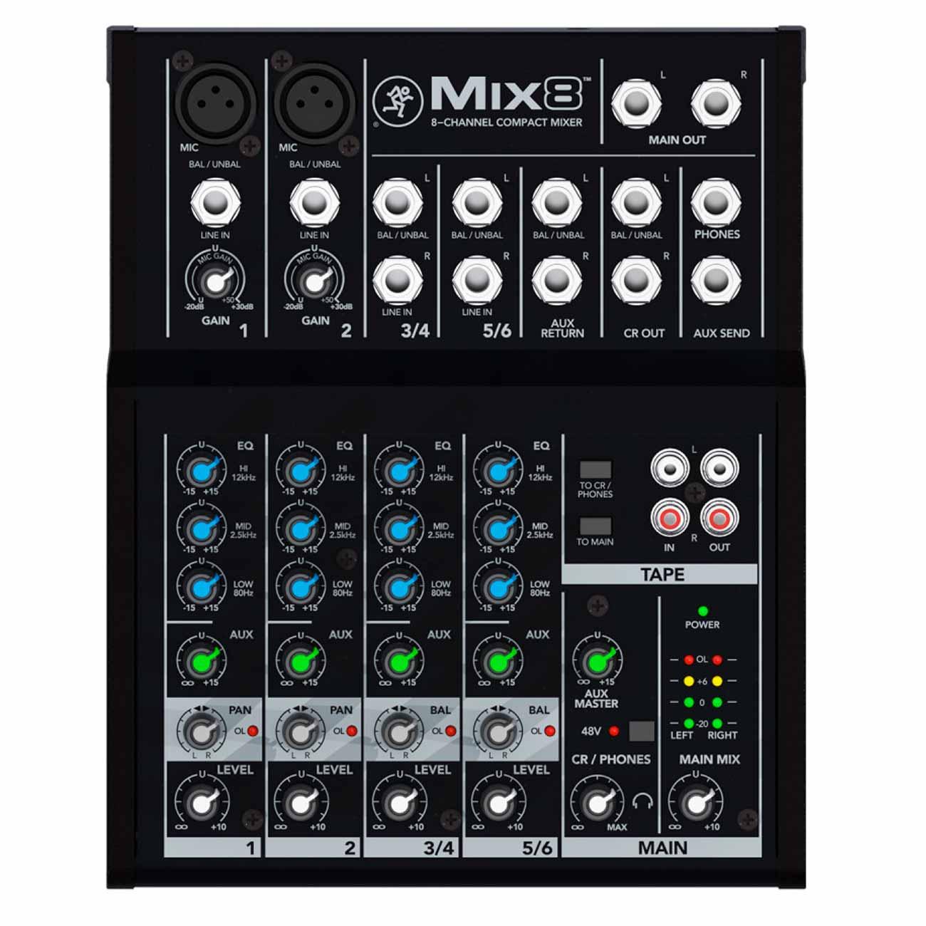 Mesa de Som Mix 8 Mackie 8 Canais