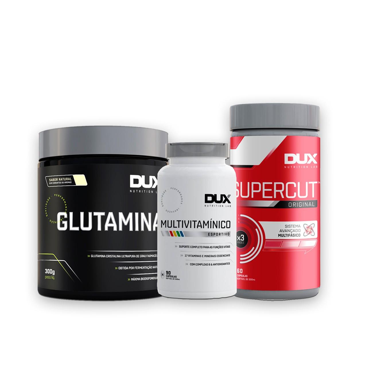 Glutamina 300g + Multivitamínico 90 caps + SuperCut 60 caps