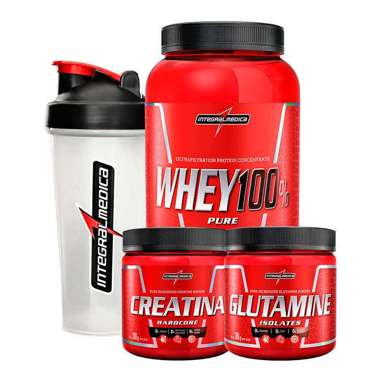 Whey 100% 900g + Creatina 300g + Glutamina 300g - Integralmédica