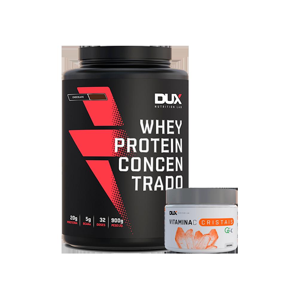 Whey Concentrado 900g + Vitamina C 200g - Dux Nutrition