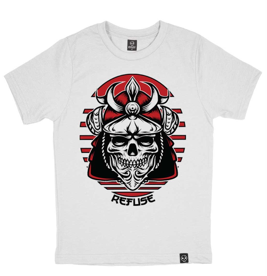 Camiseta Samurai Skull Branca