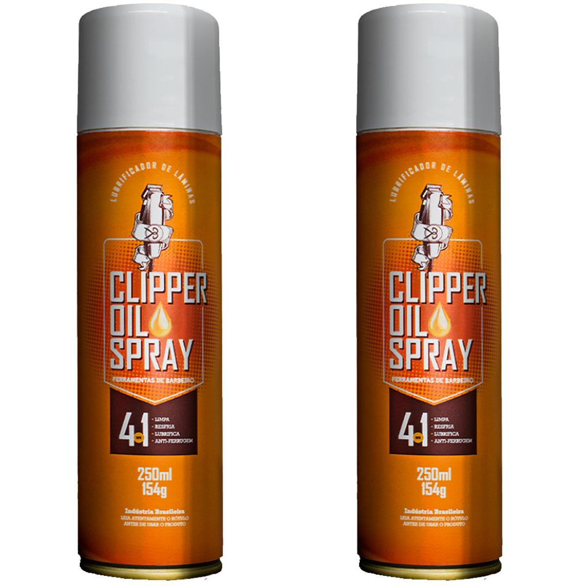 Kit 2 Clipper Oil Spray Lubrificante Para Máquinas De Cortar Ferramentas De Barbeiro - 250ml
