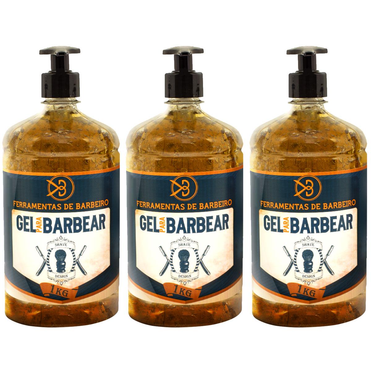 Kit 3kg de Gel de Barbear Profissional Gel Shaving Design Ferramentas De Barbeiro 1kg