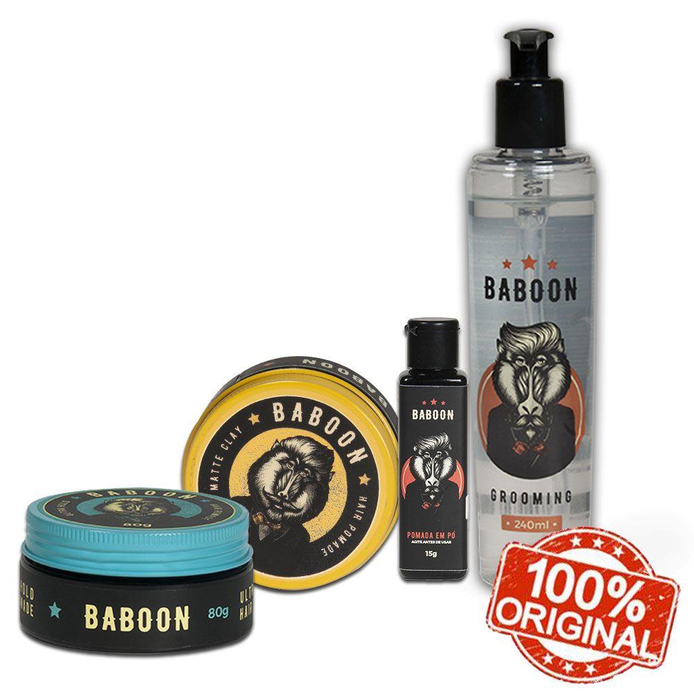 Kit Baboon Especial Pomada Matte Clay + Pomada Ultra Hold + Pomada Em Pó + Grooming Modelador
