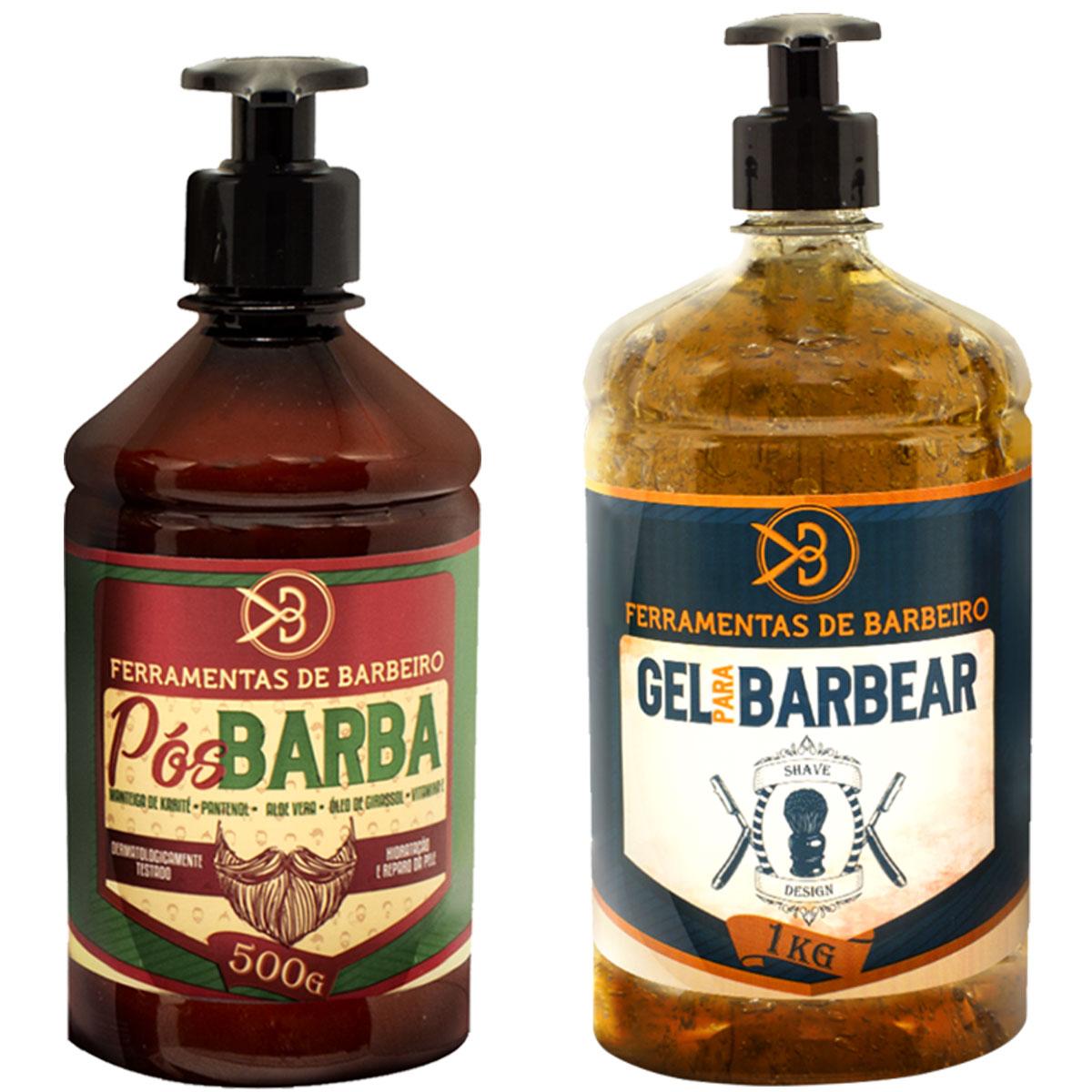 Kit Bancada Ferramentas De Barbeiro Gel Shaving Design 1L + Loção Pós Barba 500ml