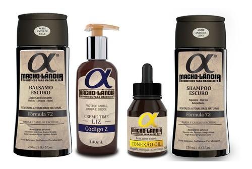 Kit Barba Escura Macho Lândia Balm + Shampoo + Bálsamo +óleo