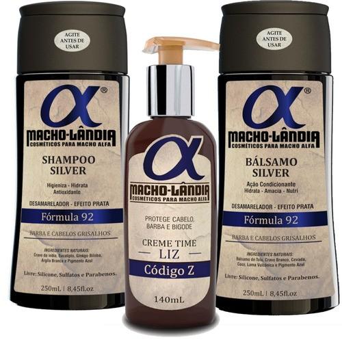 Kit Para Barba Grisalha Macho Lândia Balm + Shampoo +bálsamo