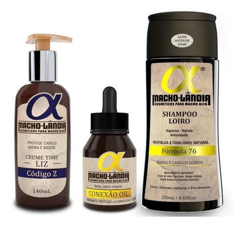 Kit Para Barba Loira/clara Macho Lândia Balm + Óleo +shampoo