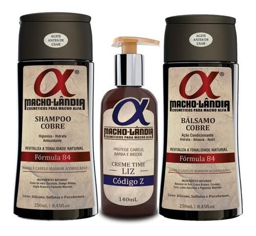Kit Para Barba Ruiva Macho Lândia Balm + Shampoo + Bálsamo