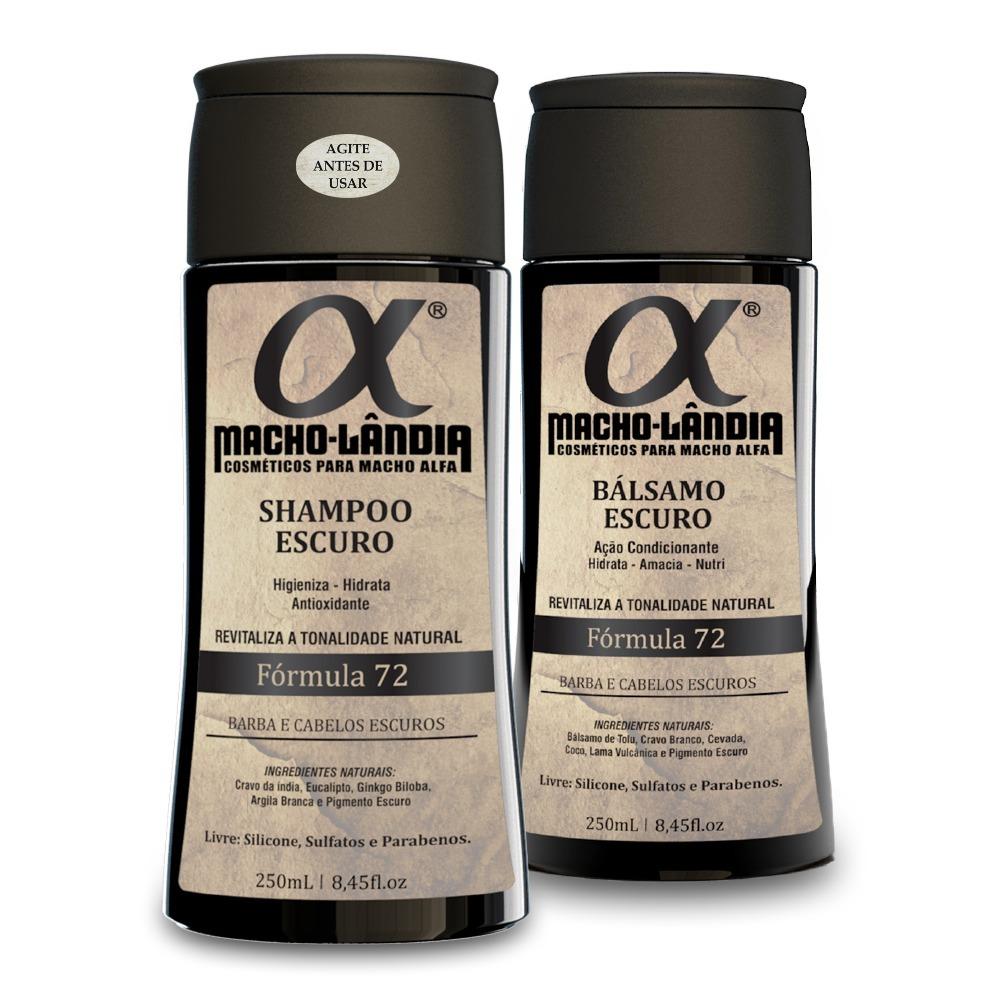 Kit Shampoo + Bálsamo Para Barba E Cabelo Escuro - Macho Lândia 72