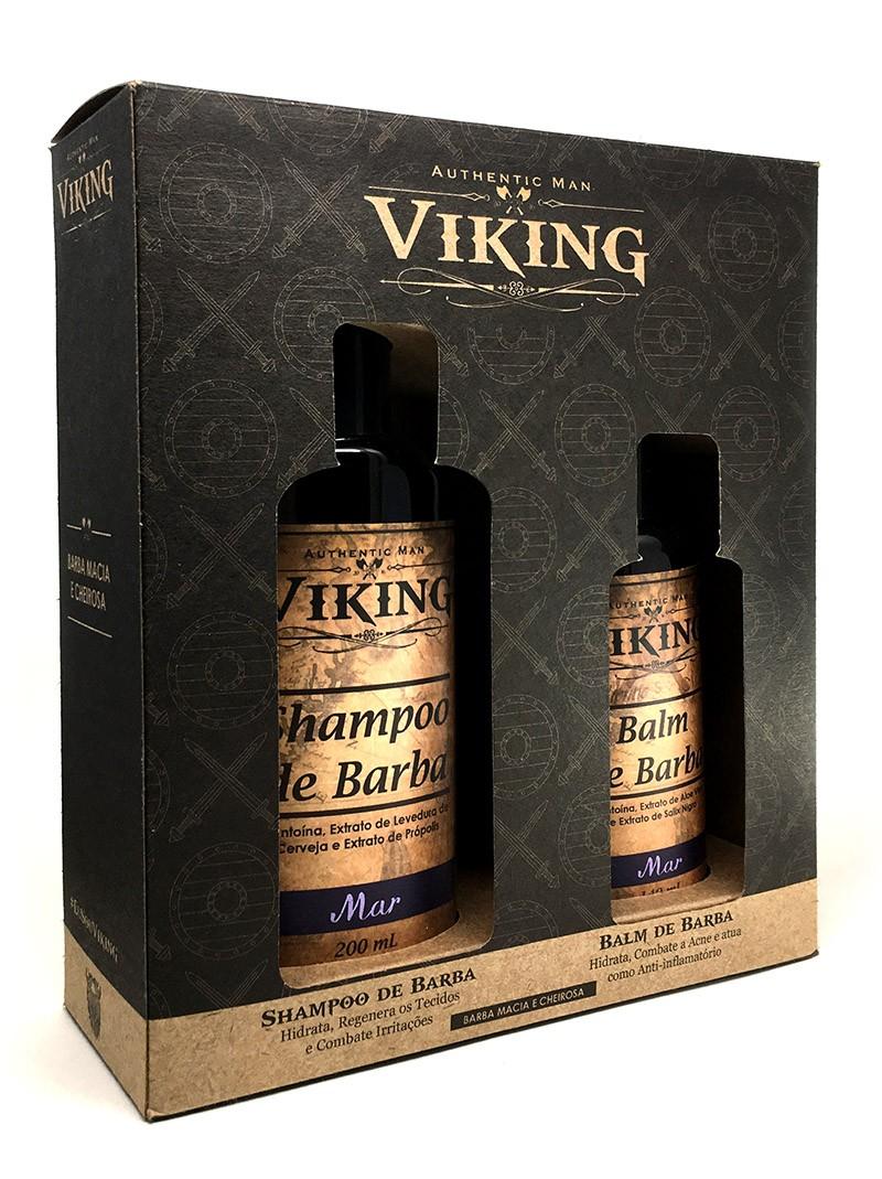 Kit Shampoo e Balm Para Barba Viking Mar + Caixa Para presente