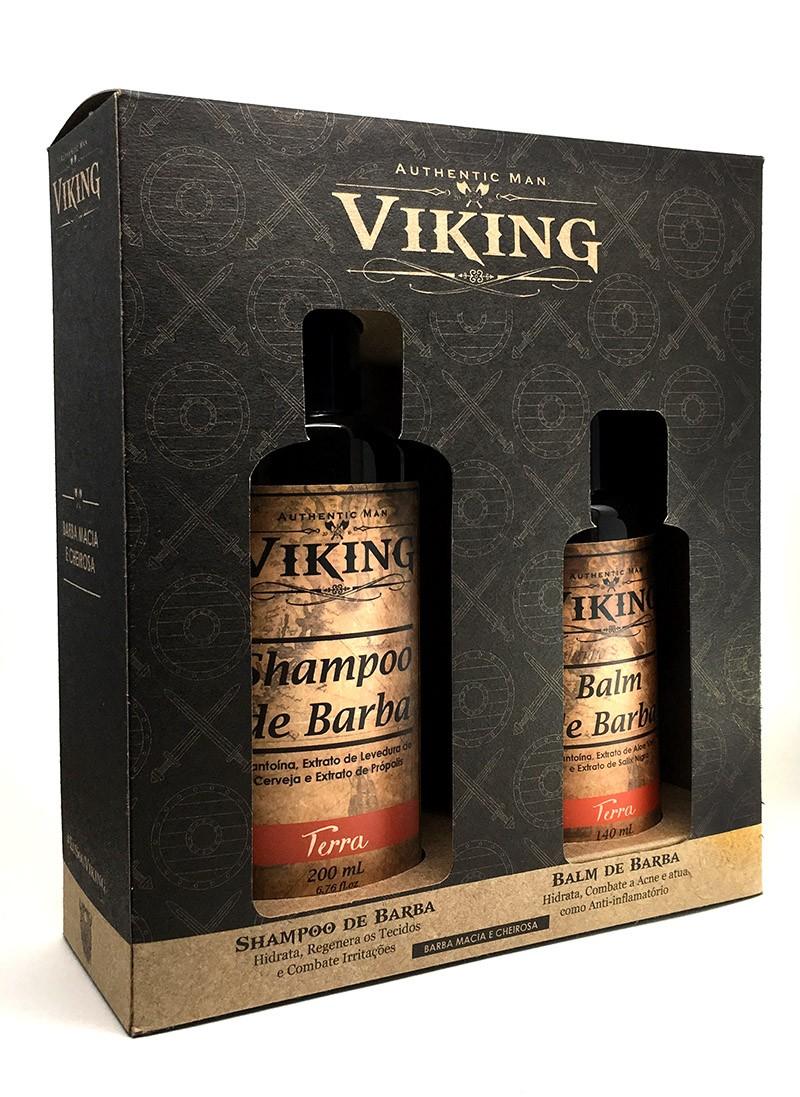 Kit Shampoo e Balm Para Barba Viking Terra + Caixa Para presente