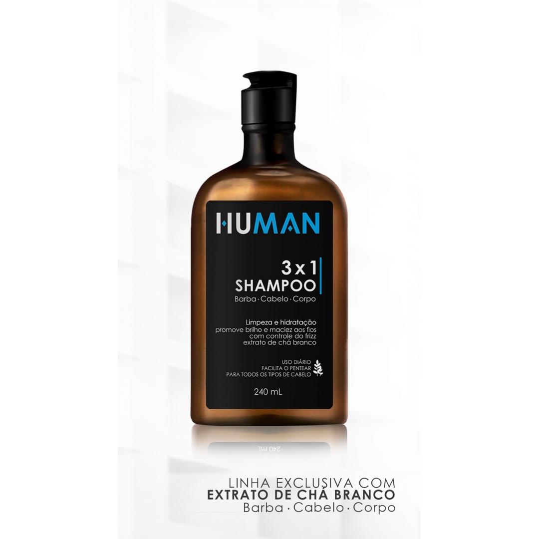 Shampoo 3x1 Para Barba Cabelo e Corpo Human - 240ml