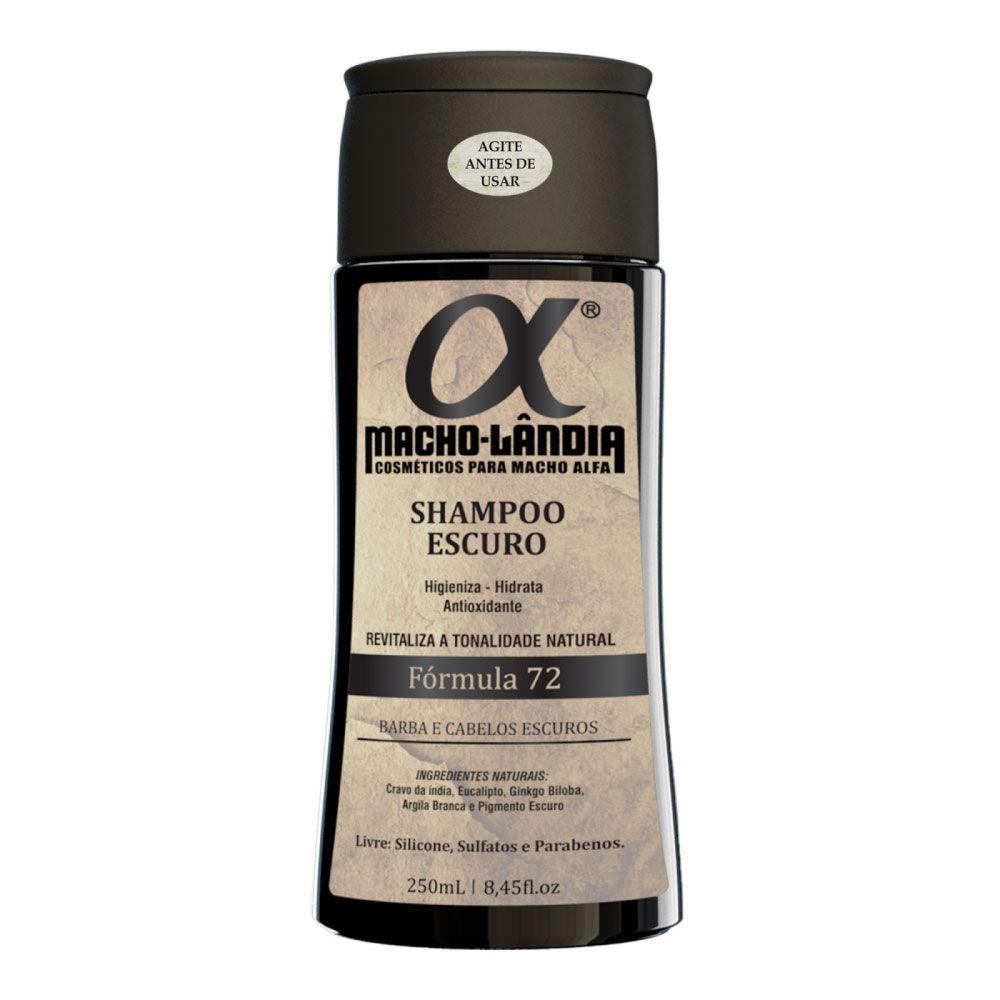 Shampoo Para Barba e Cabelos Escuros Macho-Lândia Fórmula 72 - 250ml
