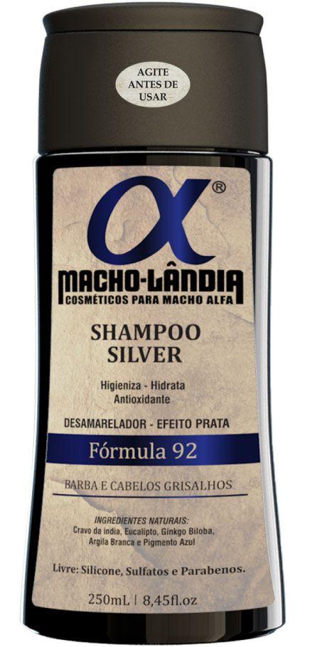 Shampoo Para Barba e Cabelos Grisalhos Macho-Lândia Fórmula 92 - 250ml