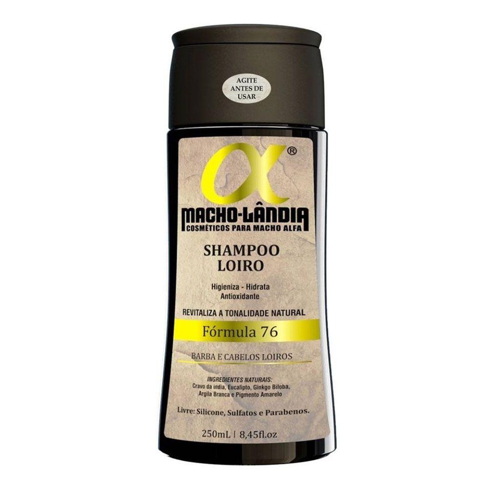 Shampoo Para Barba e Cabelos Loiros Macho-Lândia Fórmula 76 - 250ml