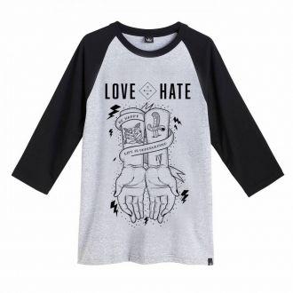 Camiseta Masculina Hoshwear Raglan 3/4 Love & Hate Mescla
