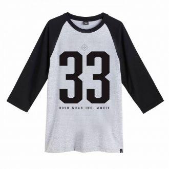 Camiseta Masculina Hoshwear Raglan 3/4 N. 33 Mescla