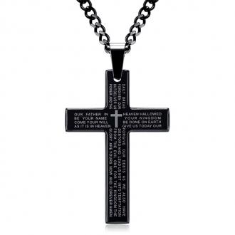 Colar de Aço com pingente Cruz Prayer Preto
