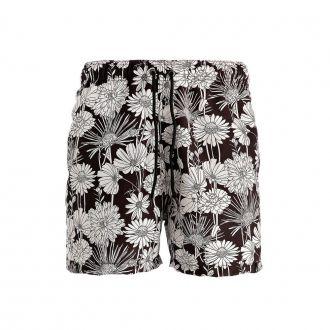 Short Estampado Masculino Hoshwear Floral Preto e Branco