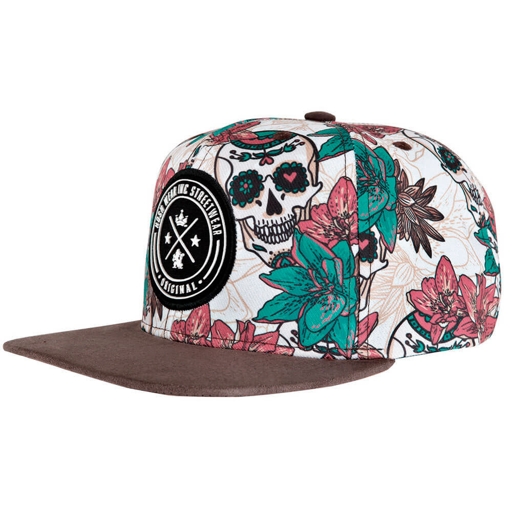 Boné Aba Reta Snapback Hoshwear Skull Flowers