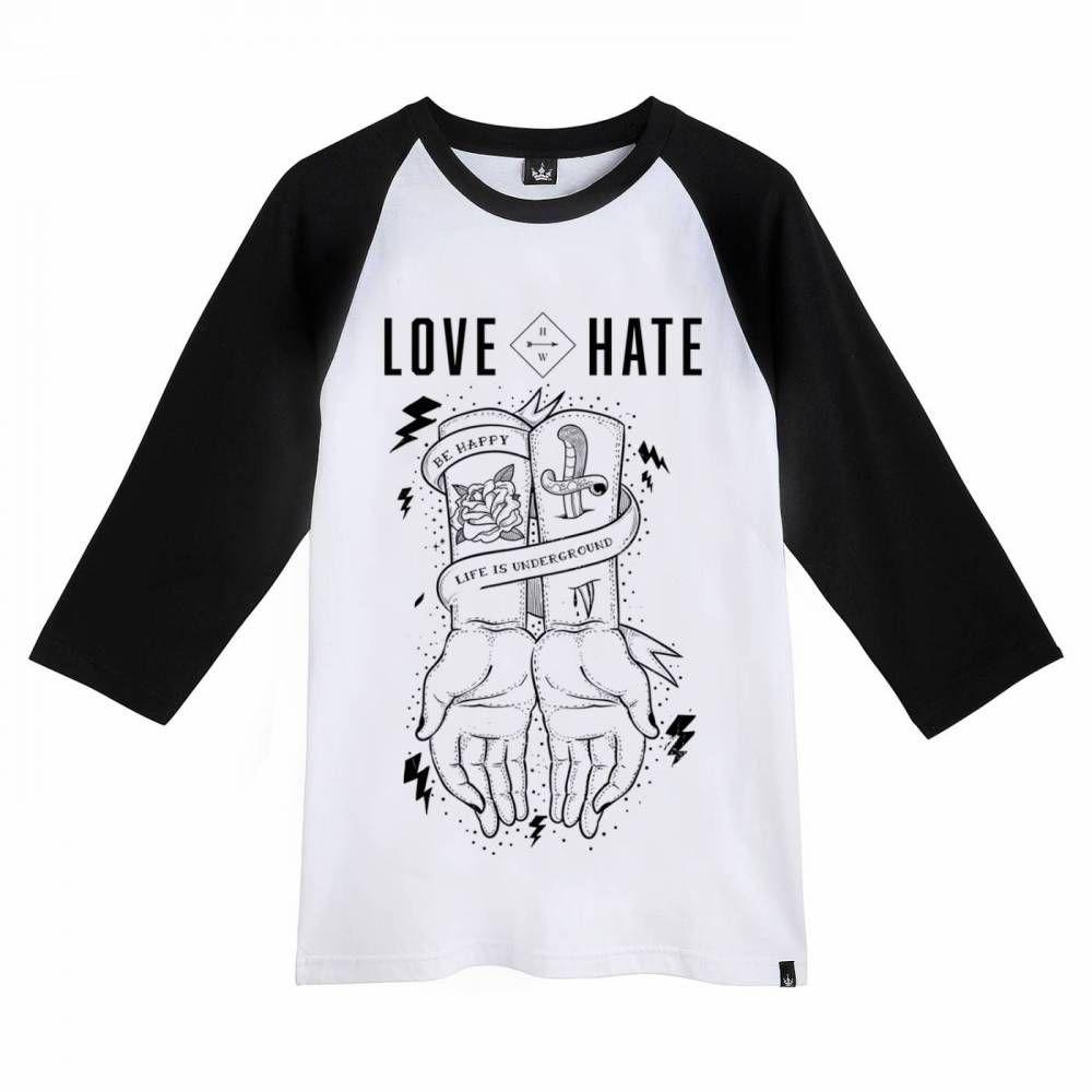 Camiseta Raglan Hoshwear 3/4 Love Hate Branca